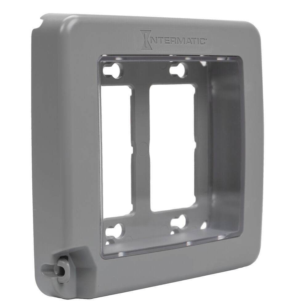 Low-Profile Plastic In-Use Weatherproof Cover, Double-Gang, Vrt, Gray redirect to product page
