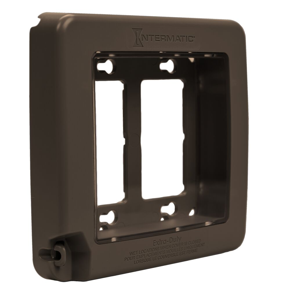 Low-Profile Extra-Duty Plastic In-Use Weatherproof Cover, Double-Gang, Vrt, Bronze redirect to product page