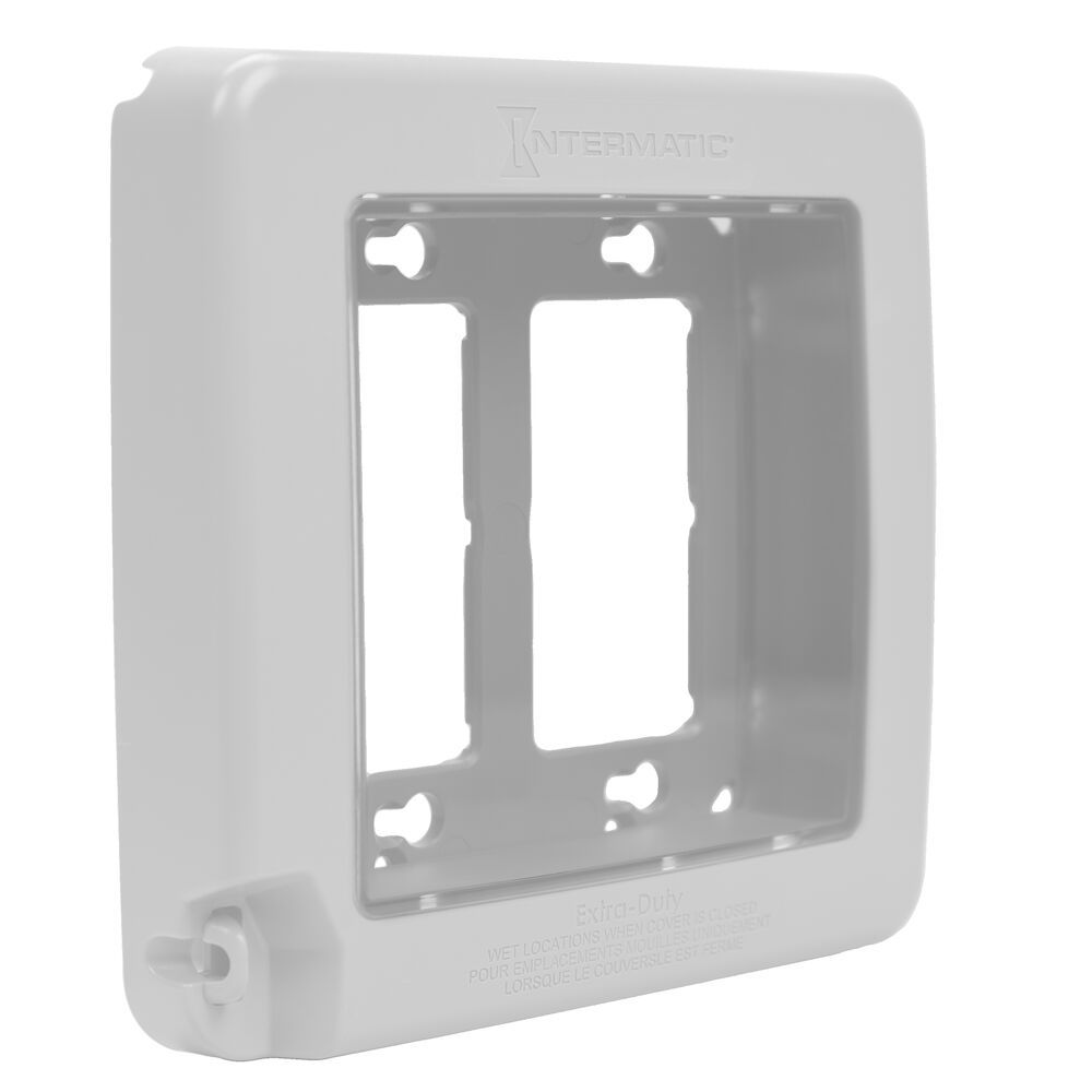 Low-Profile Extra-Duty Plastic In-Use Weatherproof Cover, Double-Gang, Vrt, White redirect to product page