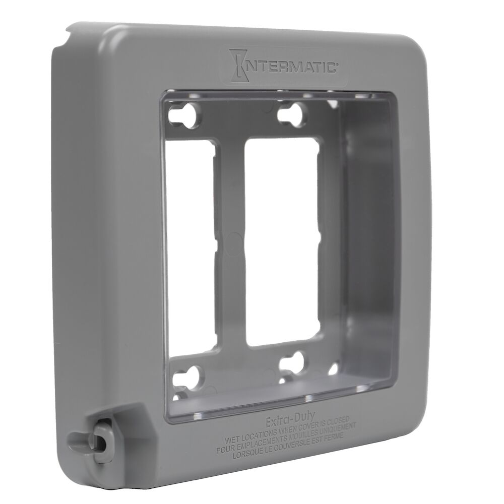 Low-Profile Extra-Duty Plastic In-Use Weatherproof Cover, Double-Gang, Vrt, Gray redirect to product page