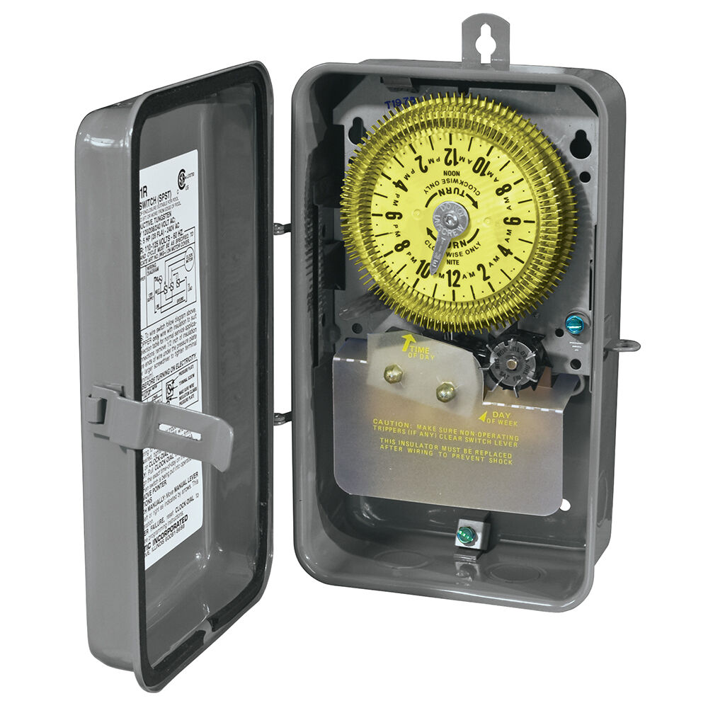 24-Hour Mechanical Time Switch with Skip-a-Day, 125 VAC, 60Hz, SPDT, Outdoor Metal Enclosure, 15 Minute Interval redirect to product page
