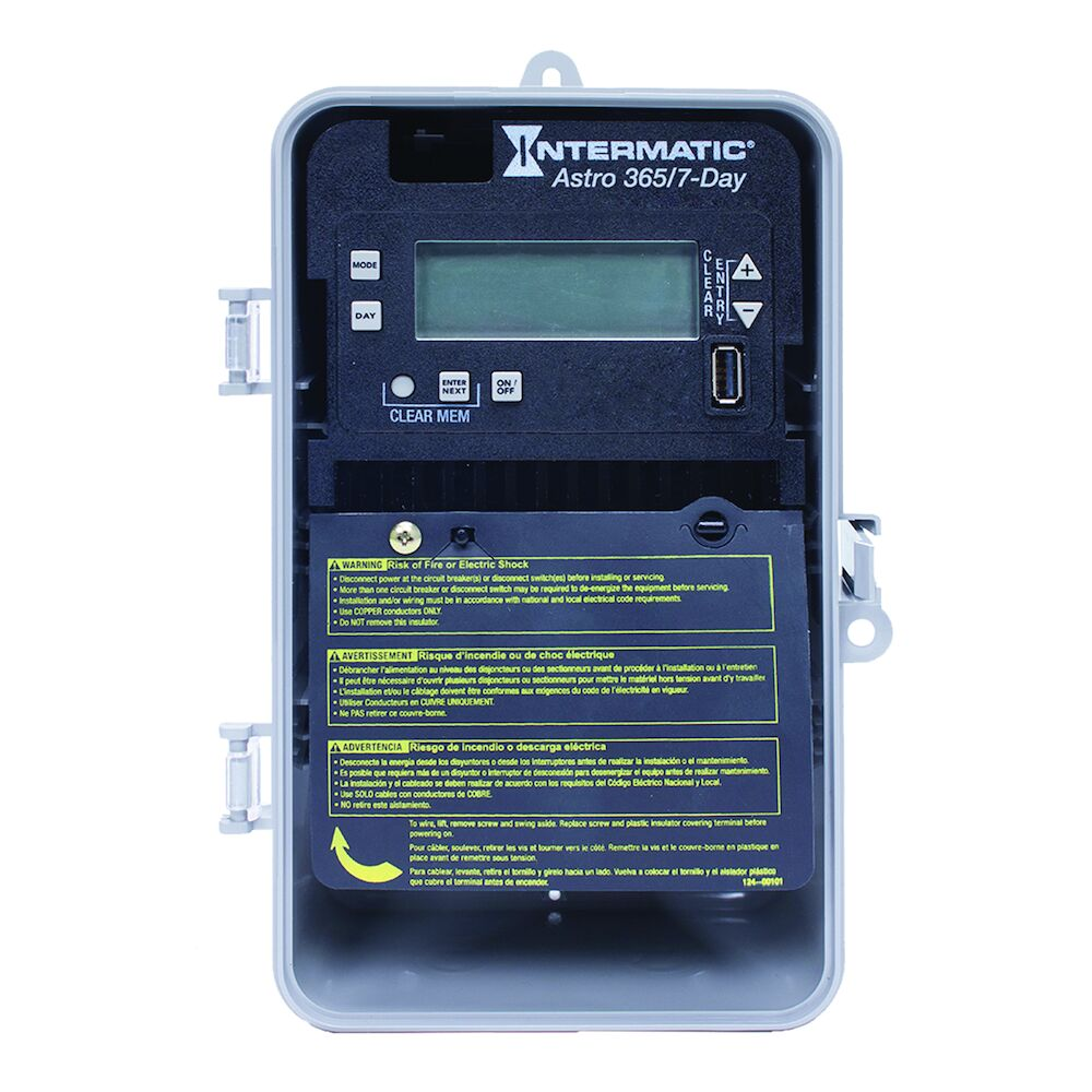 Astronomic 7-Day/365 Day 1-Circuit Electronic Control, 120-277 VAC, 60 Hz, SPST, Indoor/Outdoor Plastic Enclosure redirect to product page
