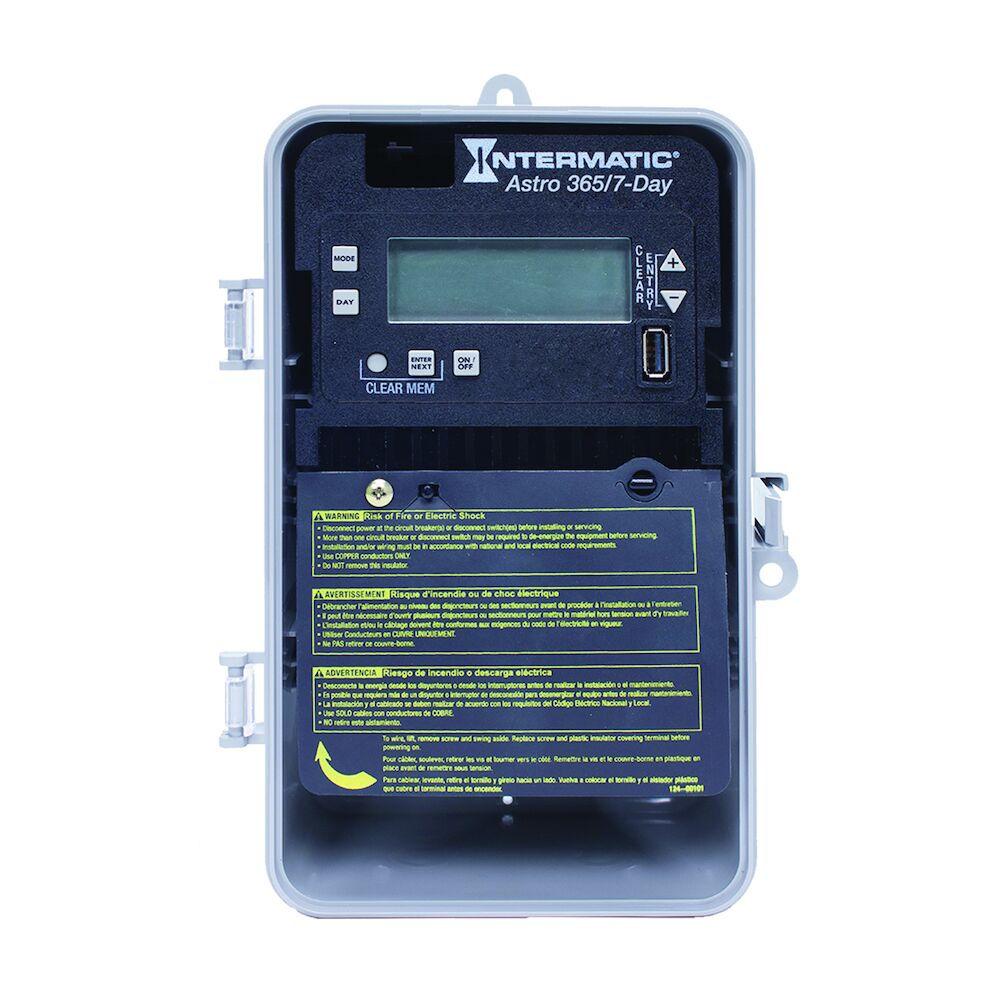 Astronomic 7-Day/365 Day 1-Circuit Electronic Control, 120-277 VAC, 60 Hz, SPDT, Indoor/Outdoor Plastic Enclosure redirect to product page