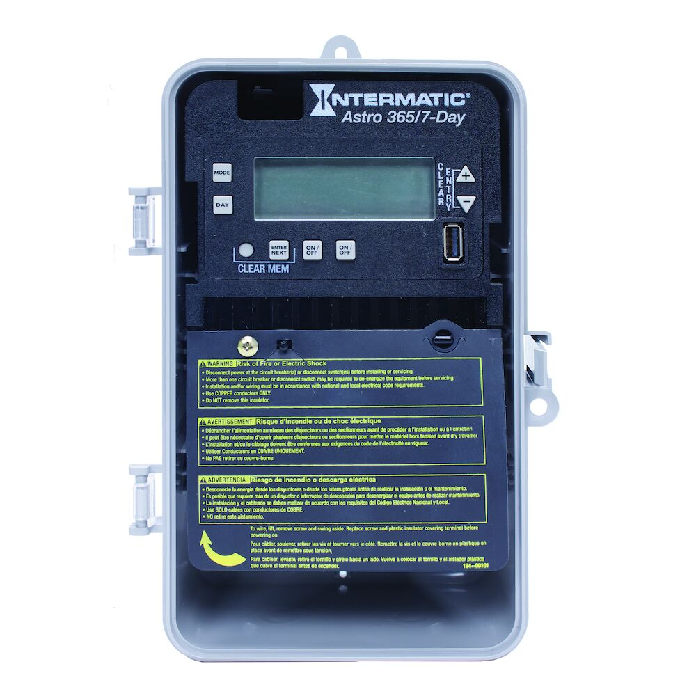 Astronomic 7-Day/365 Day 2-Circuit Electronic Control, 120-277 VAC, 60 Hz, 2-SPST/DPST, Indoor/Outdoor Plastic Enclosure redirect to product page