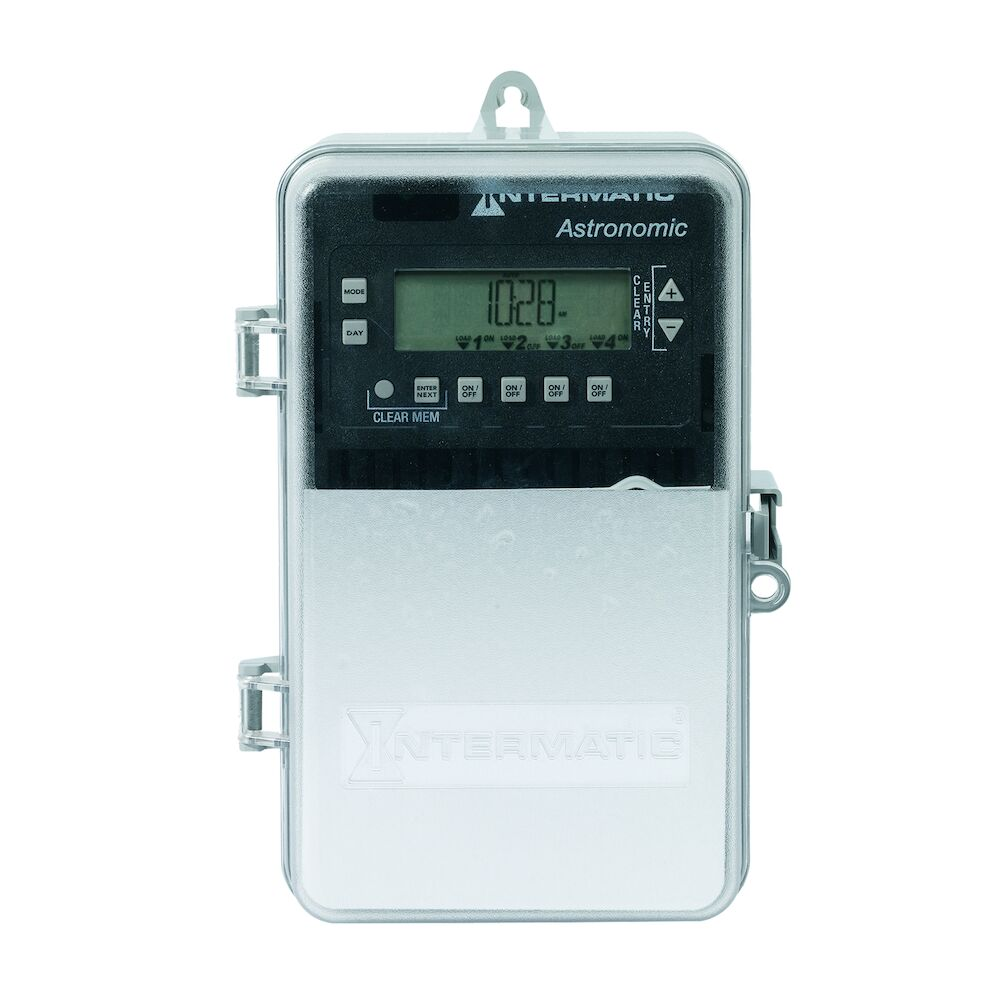 Astronomic 7-Day/365 Day 4-Circuit Electronic Control, 120-277 VAC, 60 Hz, 4-SPST/2-DPST, Indoor/Outdoor Plastic Enclosure redirect to product page