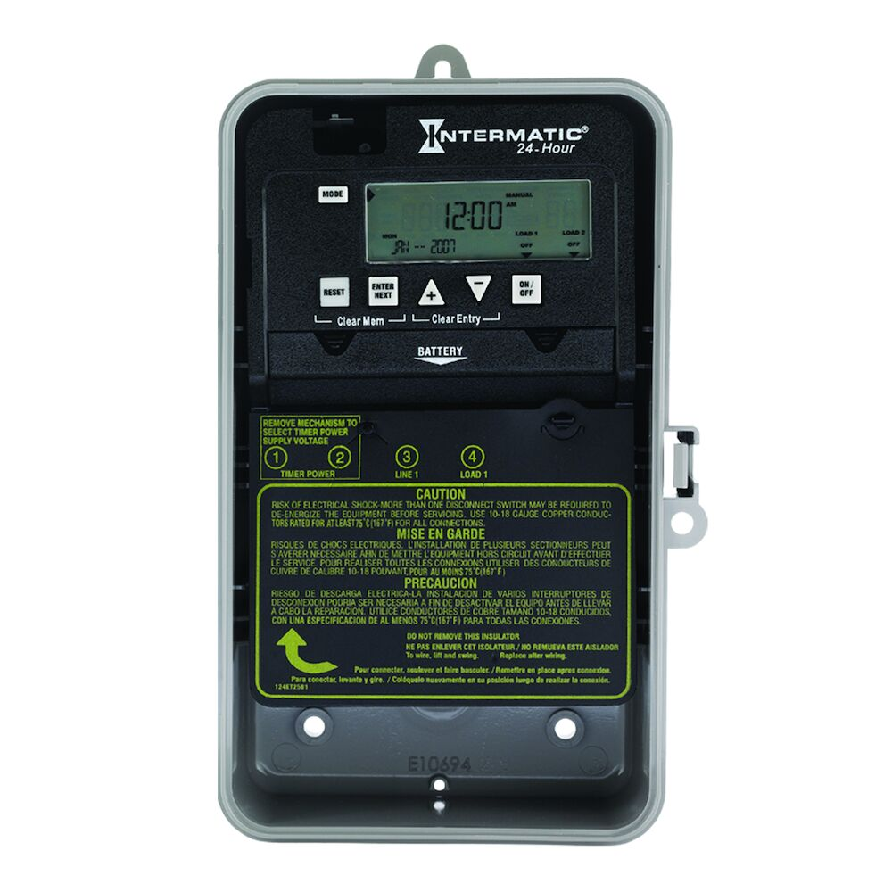 24-Hour 1 Circuit Electronic Control, 120-277 VAC, 60 Hz, SPST, Indoor/Outdoor Plastic Enclosure redirect to product page