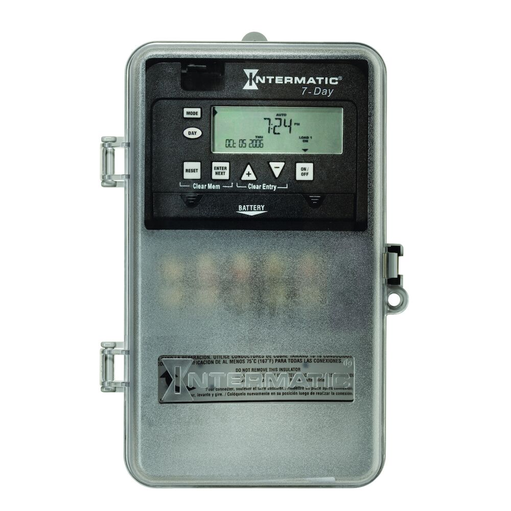 7-Day 1-Circuit Electronic Control, 120-277 VAC, 60 Hz, SPDT, Indoor/Outdoor Plastic Enclosure redirect to product page