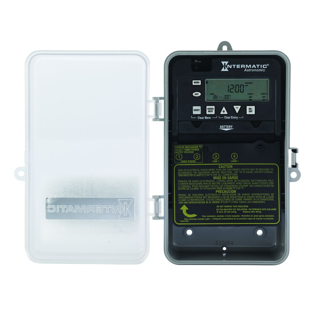 Astronomic 7-Day 1-Circuit Electronic Control, 120-277 VAC, 60 Hz, SPST, Indoor/Outdoor Plastic Enclosure redirect to product page