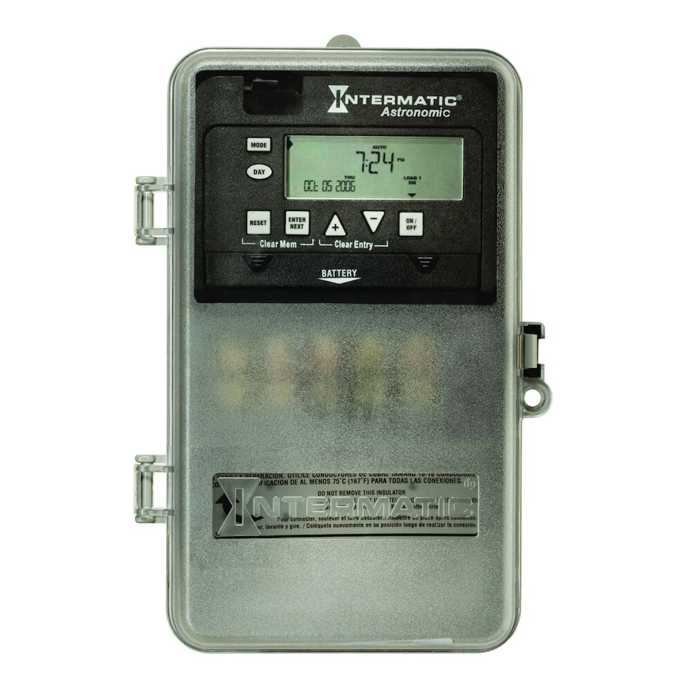 Astronomic 7-Day 1-Circuit Electronic Control, 120-277 VAC, 60 Hz, SPDT, Indoor/Outdoor Plastic Enclosure redirect to product page