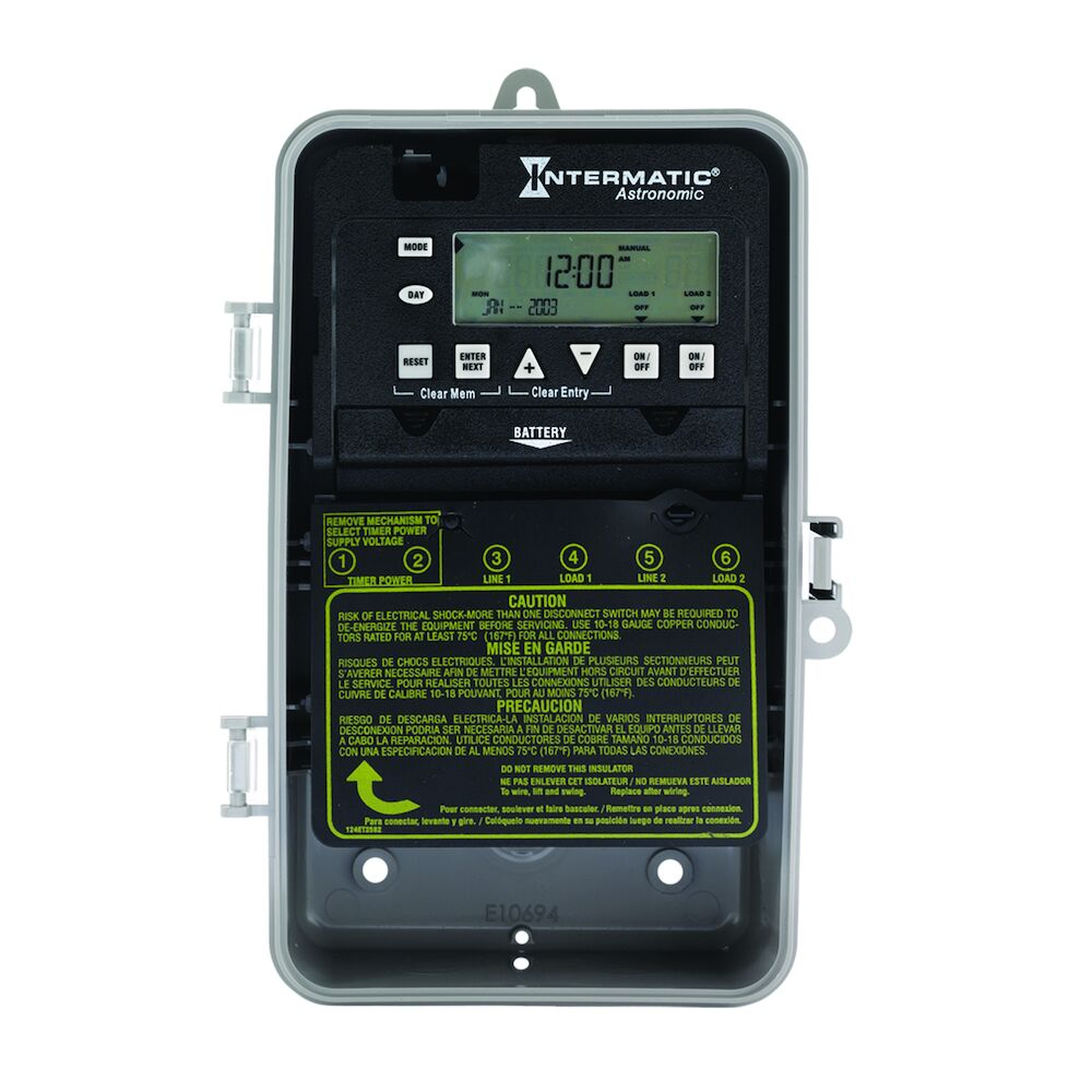 Astronomic 7-Day 2-Circuit Electronic Control, 120-277 VAC, 60 Hz, 2-SPST, Indoor/Outdoor Plastic Enclosure redirect to product page