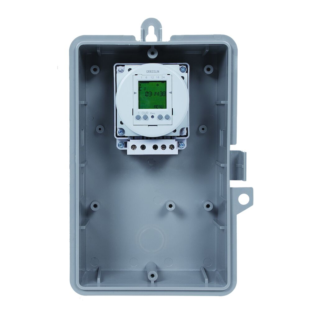 24-Hour or 7-Day 120V Electronic Time Control, 16A, 50 Setpoint Programs, SPDT, Type 1 Indoor Plastic Enclosure redirect to product page