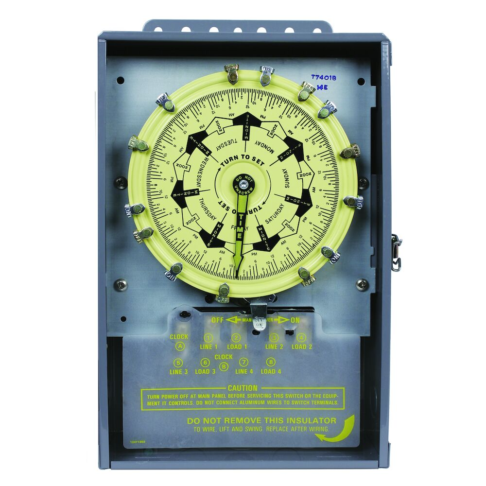 7-Day Mechanical Time Switch, 120 VAC, 60Hz, 4-SPST, Indoor Metal Enclosure, 3.5 Hour Interval redirect to product page