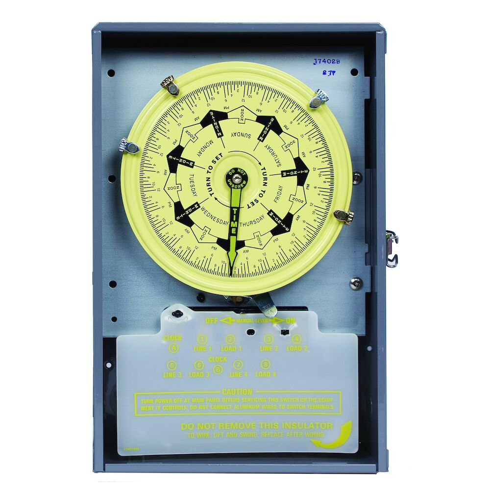 7-Day Mechanical Time Switch, 208-277 VAC, 60Hz, 4-SPST, Indoor Metal Enclosure, 3.5 Hour Interval redirect to product page