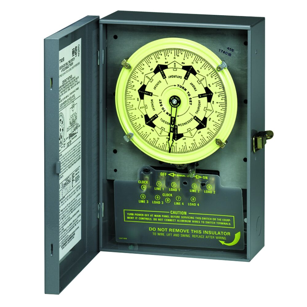 7-Day Mechanical Time Switch, 120 VAC, 60Hz, 2 NO/2 NC, Indoor Metal Enclosure, 3.5 Hour Interval redirect to product page