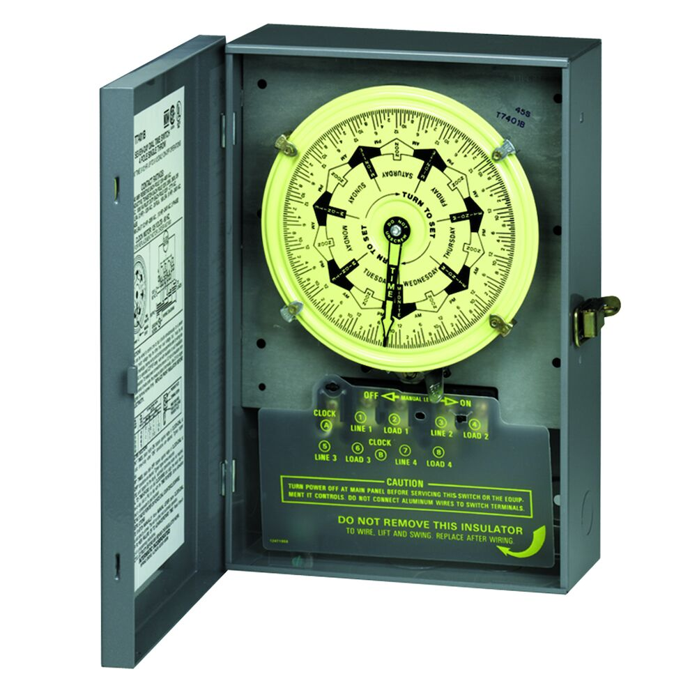 7-Day Mechanical Time Switch, 208-277 VAC, 60Hz, 2 NO/2 NC, Indoor Metal Enclosure, 3.5 Hour Interval redirect to product page
