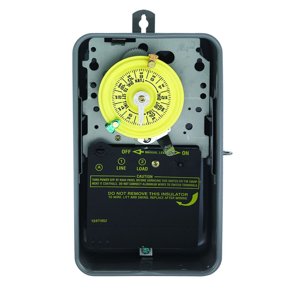 24-Hour Mechanical Time Switch, 120 VAC, 60Hz, SPST, Indoor/Outdoor Metal Enclosure, 1 Hour Interval redirect to product page