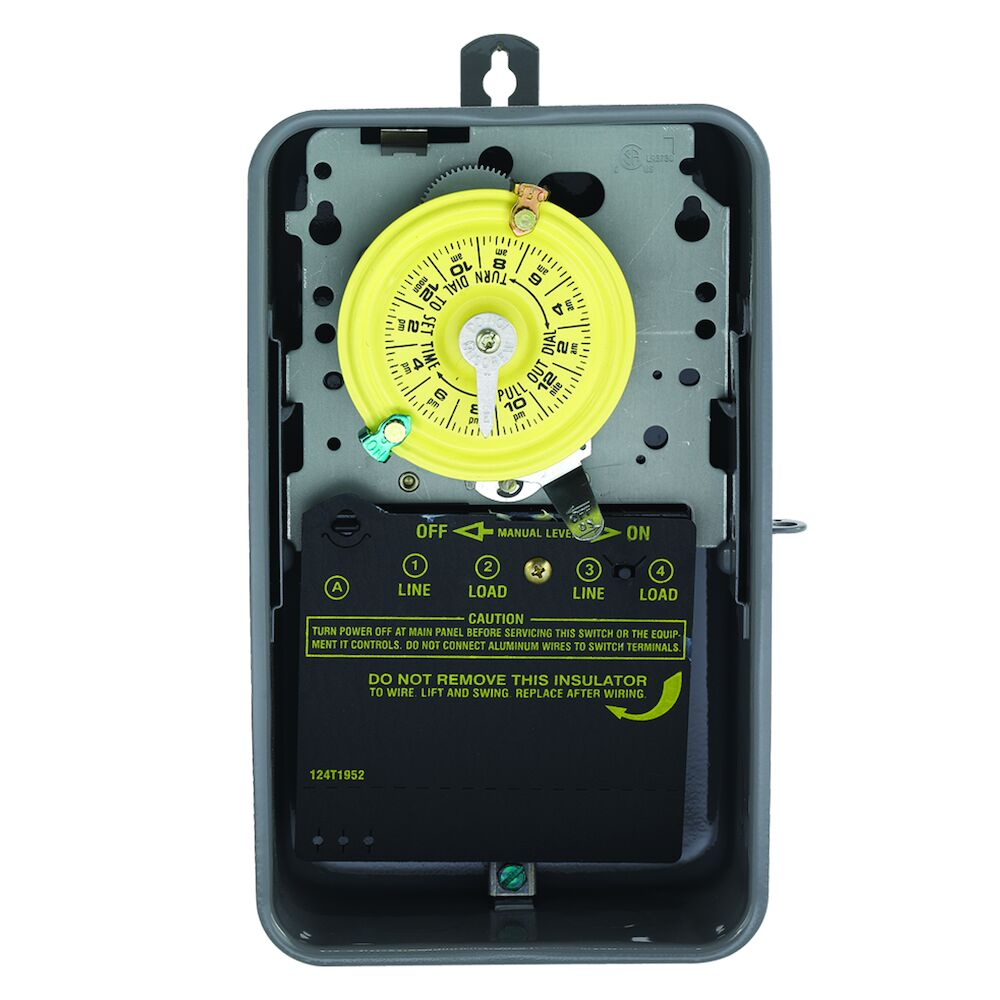 24-Hour Mechanical Time Switch, 208-277 VAC, 60Hz, SPST, Indoor/Outdoor Metal Enclosure, 1 Hour Interval redirect to product page