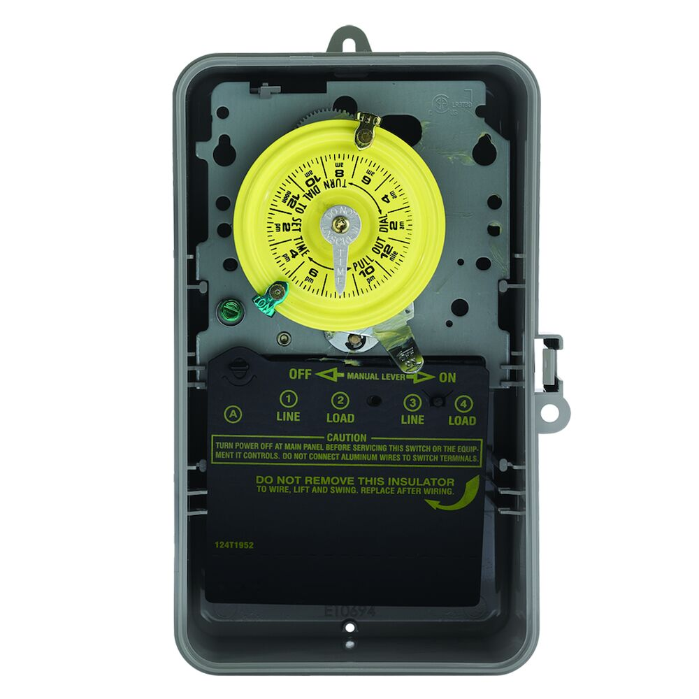 24-Hour Mechanical Time Switch, 120 VAC, 60Hz, DPST, Indoor/Outdoor Plastic Enclosure, 1 Hour Interval redirect to product page