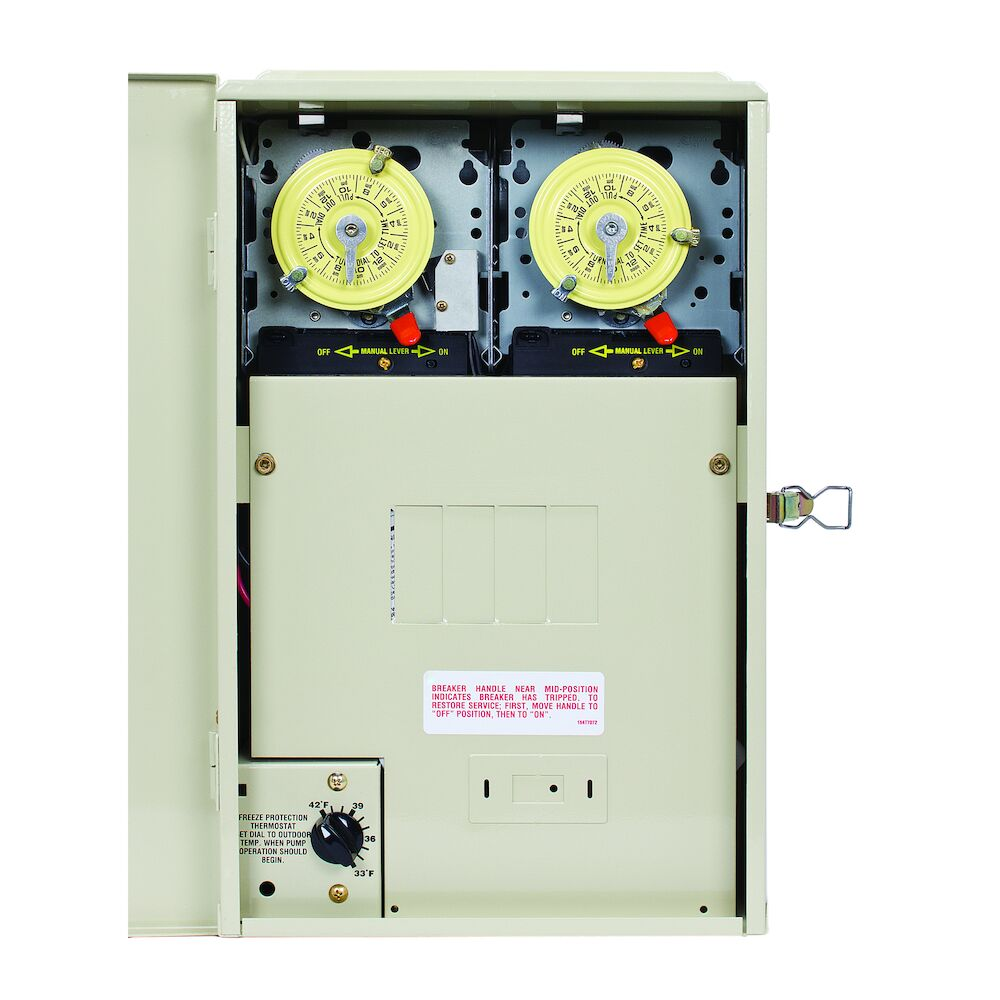 Freeze Protection 4/8 Breaker Base Panel with 2 Timers and Thermostat for 240V Cleaner Applications, Heater Protection, Type 3R Metal Enclosure redirect to product page