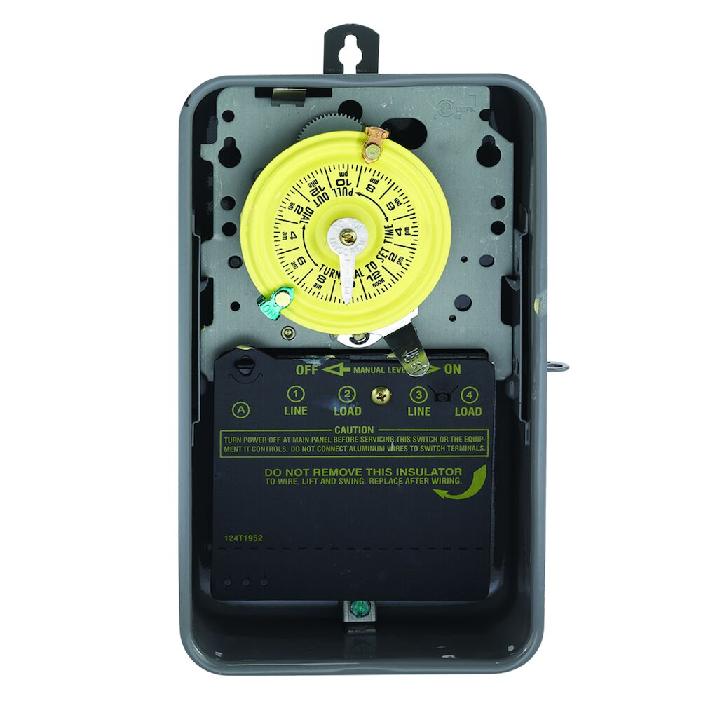 24-Hour Mechanical Time Switch, 120 VAC, 60Hz, DPST, Indoor/Outdoor Metal Enclosure, 1 Hour Interval redirect to product page