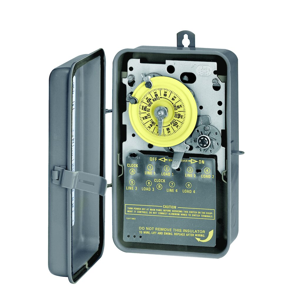 24-Hour Mechanical Time Switch, 480 VAC, 60Hz, DPST, Indoor/Outdoor Metal Enclosure, 1 Hour Interval redirect to product page