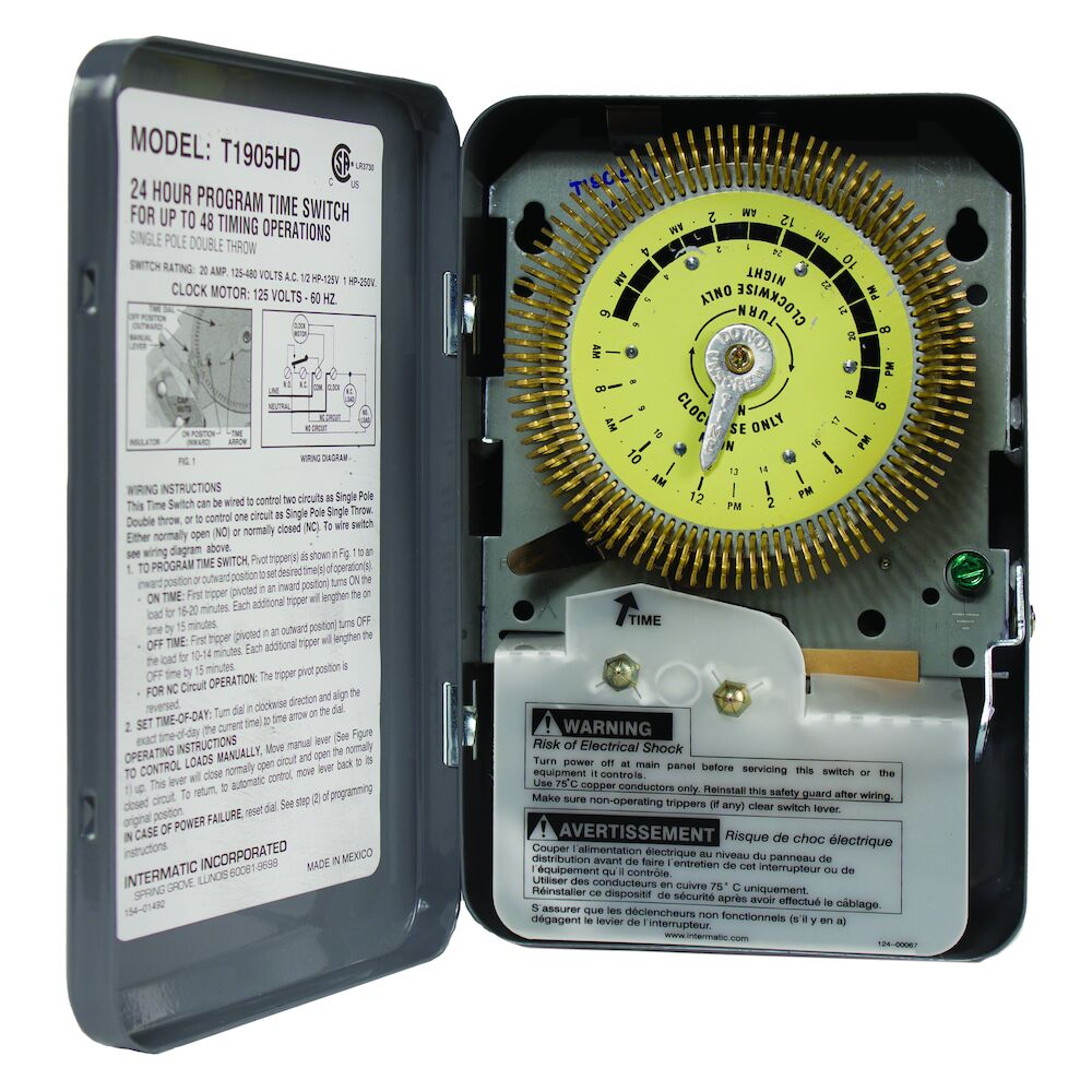 24-Hour Heavy-Duty Metal Dial Mechanical Time Switch, 125 VAC, 60Hz, SPDT, Indoor Metal Enclosure, 15 Minute Interval redirect to product page