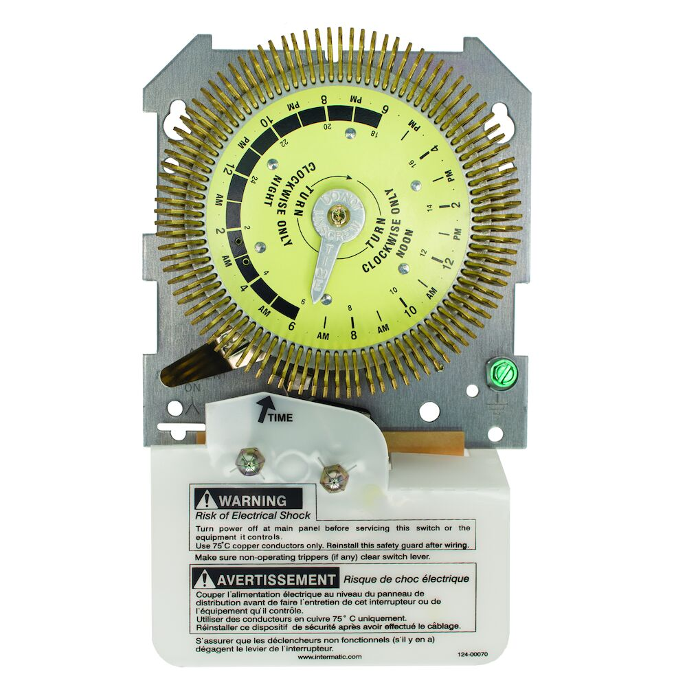 24-Hour Heavy-Duty Metal Dial Mechanical Time Switch, Mechanism Only, 125 VAC, 60Hz, SPDT, 15 Minute Interval redirect to product page