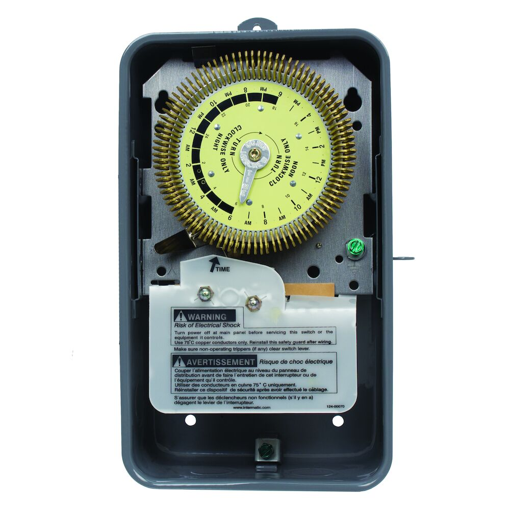 24-Hour Heavy-Duty Metal Dial Mechanical Time Switch, 125 VAC, 60Hz, SPDT, Outdoor Metal Enclosure, 15 Minute Interval redirect to product page