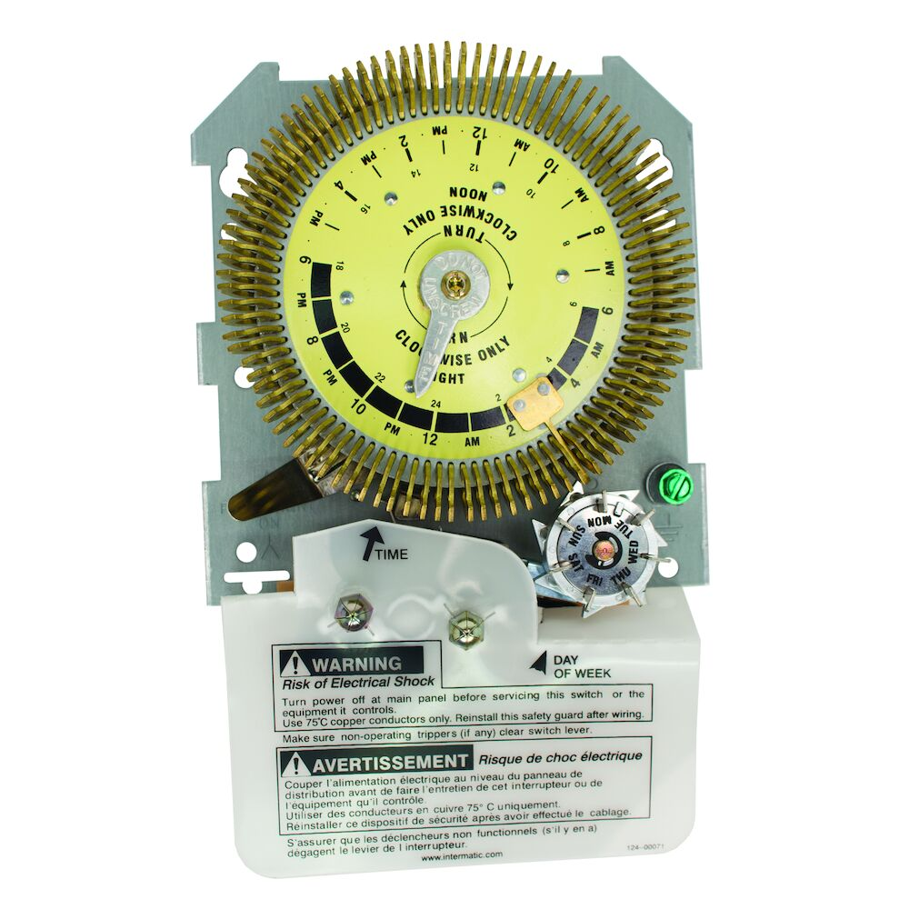 24-Hour Heavy-Duty Metal Dial Mechanical Time Switch with Skip-a-Day, Mechanism Only, 480 VAC, 60Hz, SPDT, 15 Minute Interval redirect to product page
