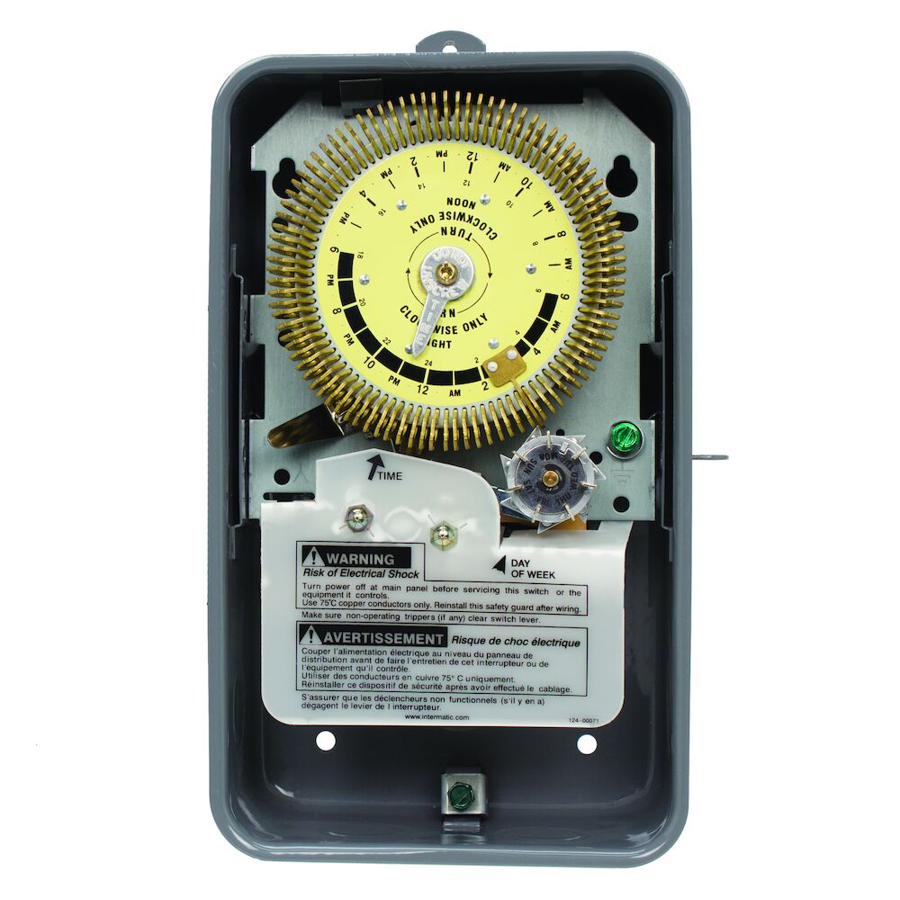24-Hour Heavy-Duty Metal Dial Mechanical Time Switch with Skip-a-Day, 480 VAC, 60Hz, SPDT, Outdoor Metal Enclosure, 15 Minute Interval redirect to product page