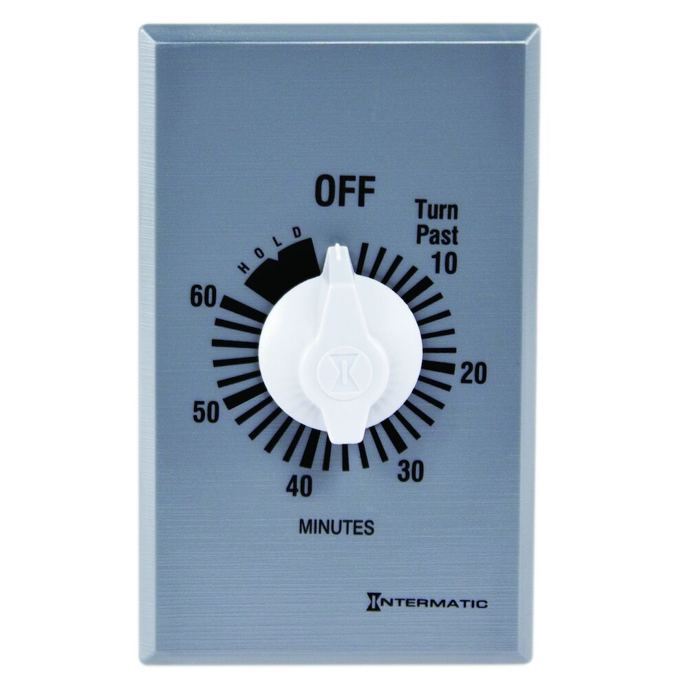 Spring Wound Countdown Timer, Commercial, 125-277 VAC, 50/60 Hz, SPST, 60 Minute Max, With Hold, Silver redirect to product page