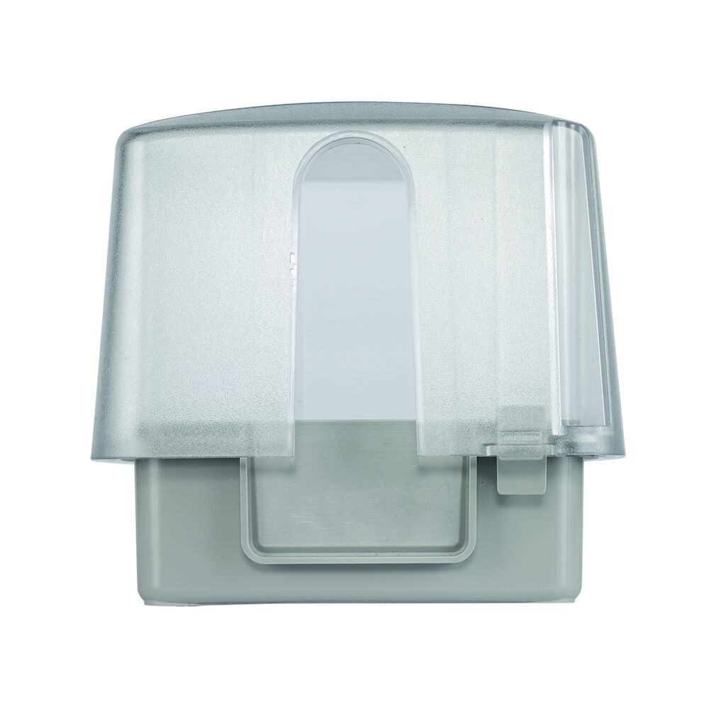 """Extra-Duty Plastic In-Use Weatherproof Cover, Double-Gang, Vrt, 4.75"""" Clear redirect to product page"""