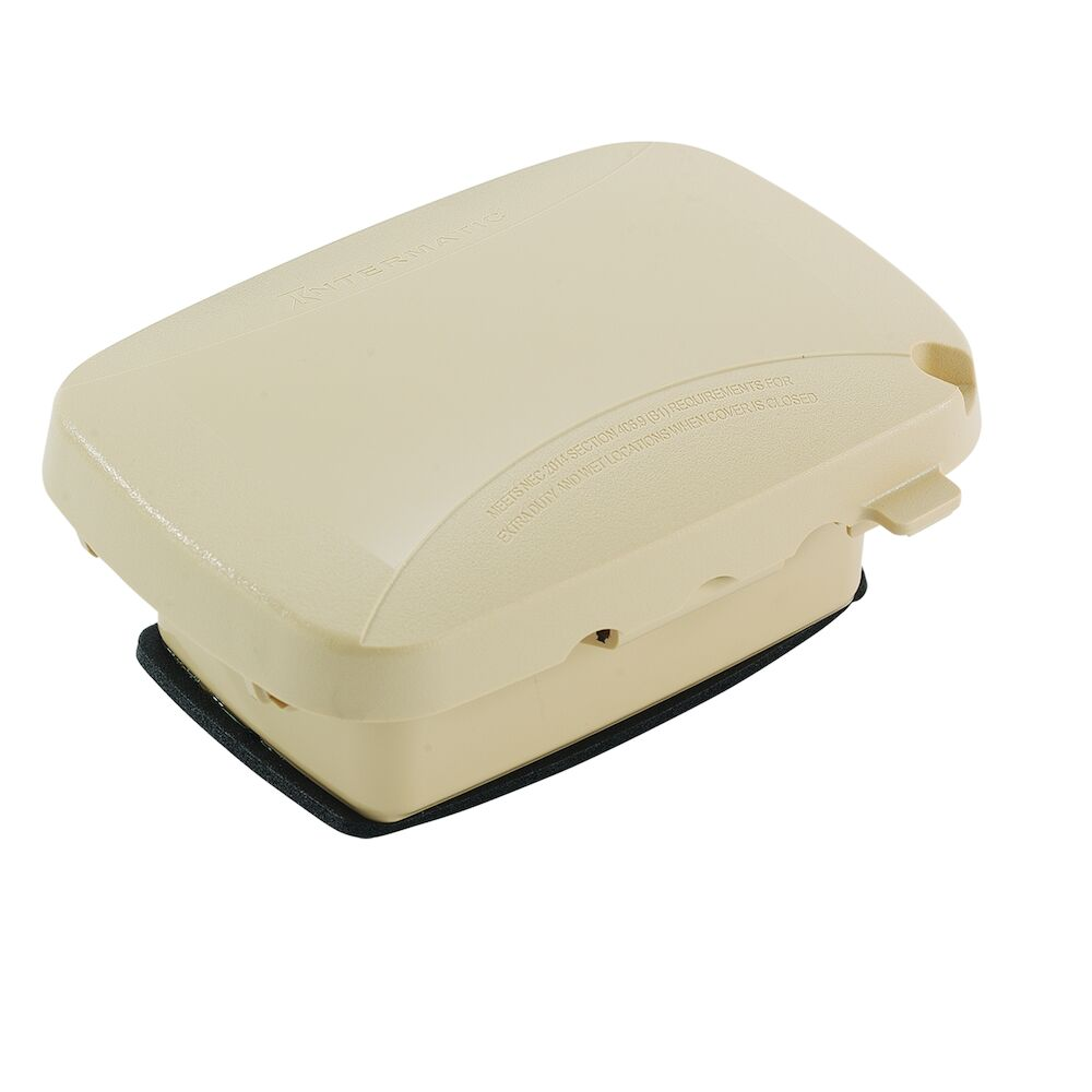 """Extra-Duty Plastic In-Use Weatherproof Cover, Single-Gang, Vrt/Hrz, 2.25"""" Beige redirect to product page"""