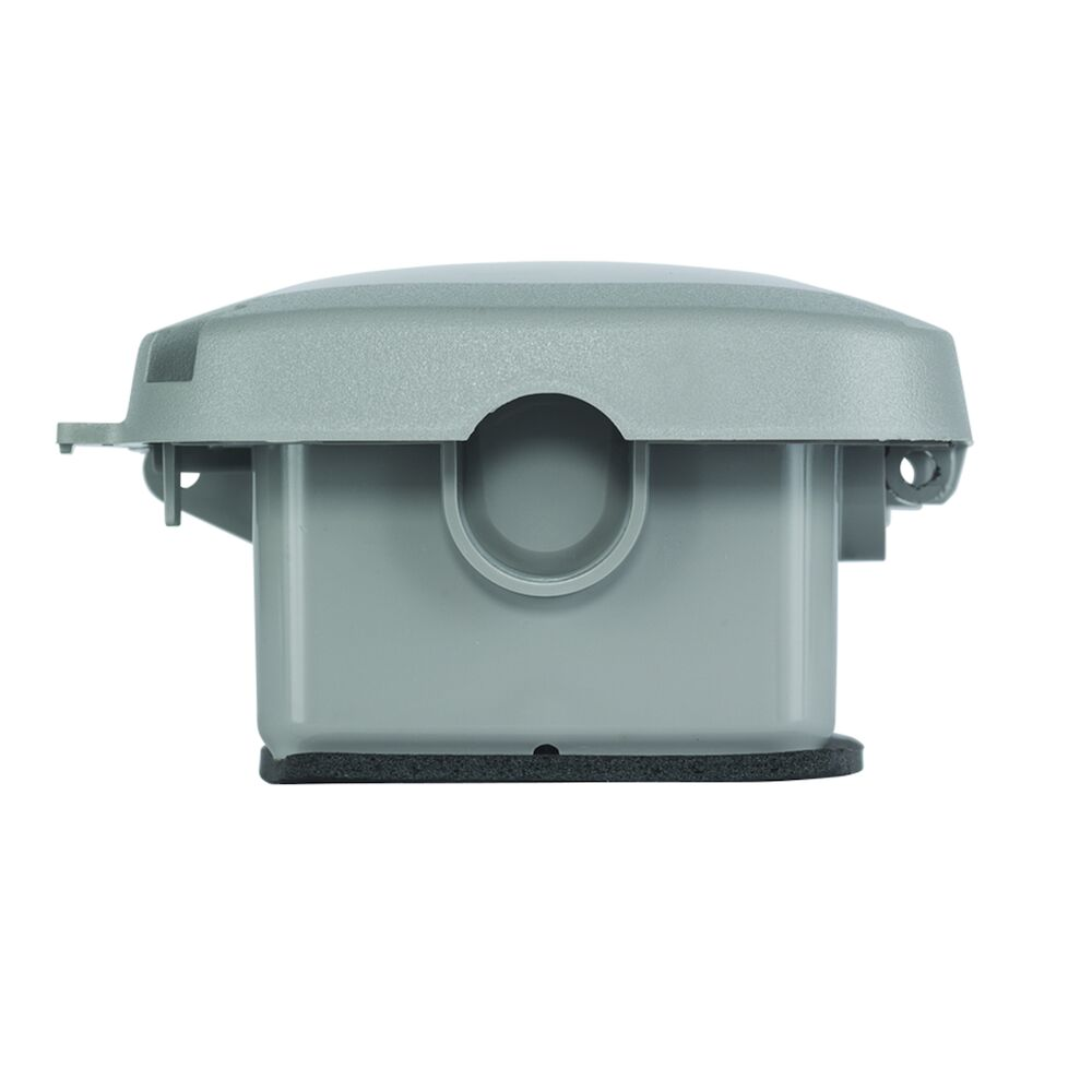 """Extra-Duty Plastic In-Use Weatherproof Cover, Single-Gang, Vrt/Hrz, 2.25"""" Gray redirect to product page"""