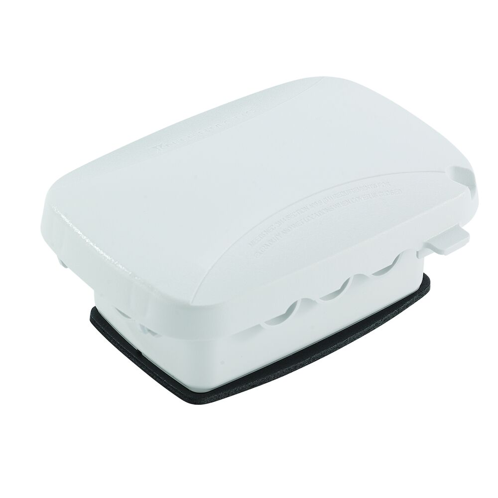 """Extra-Duty Plastic In-Use Weatherproof Cover, Single-Gang, Vrt/Hrz, 2.25"""" White redirect to product page"""