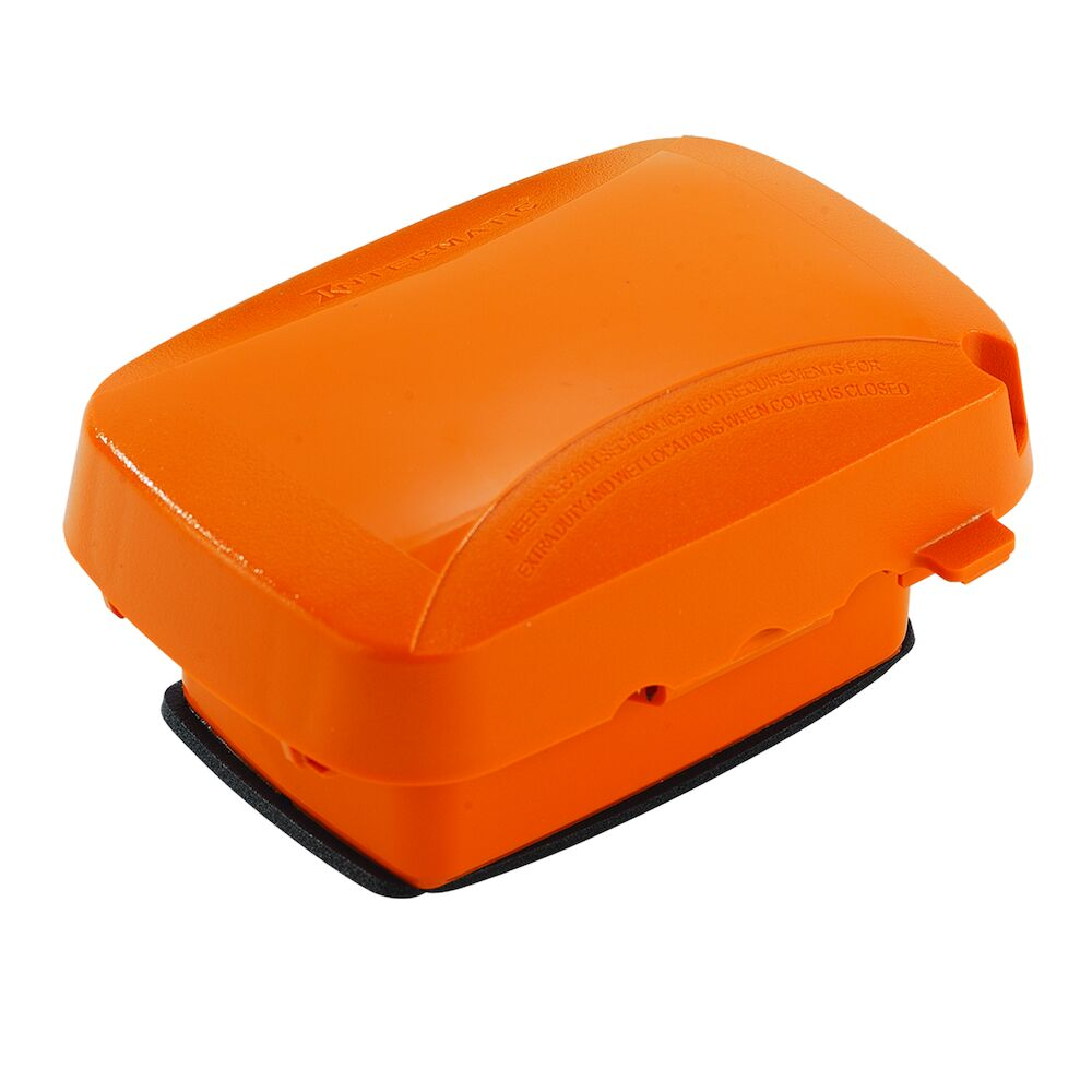 """Extra-Duty Plastic In-Use Weatherproof Cover, Single-Gang, Vrt/Hrz, 2.75"""" Orange redirect to product page"""