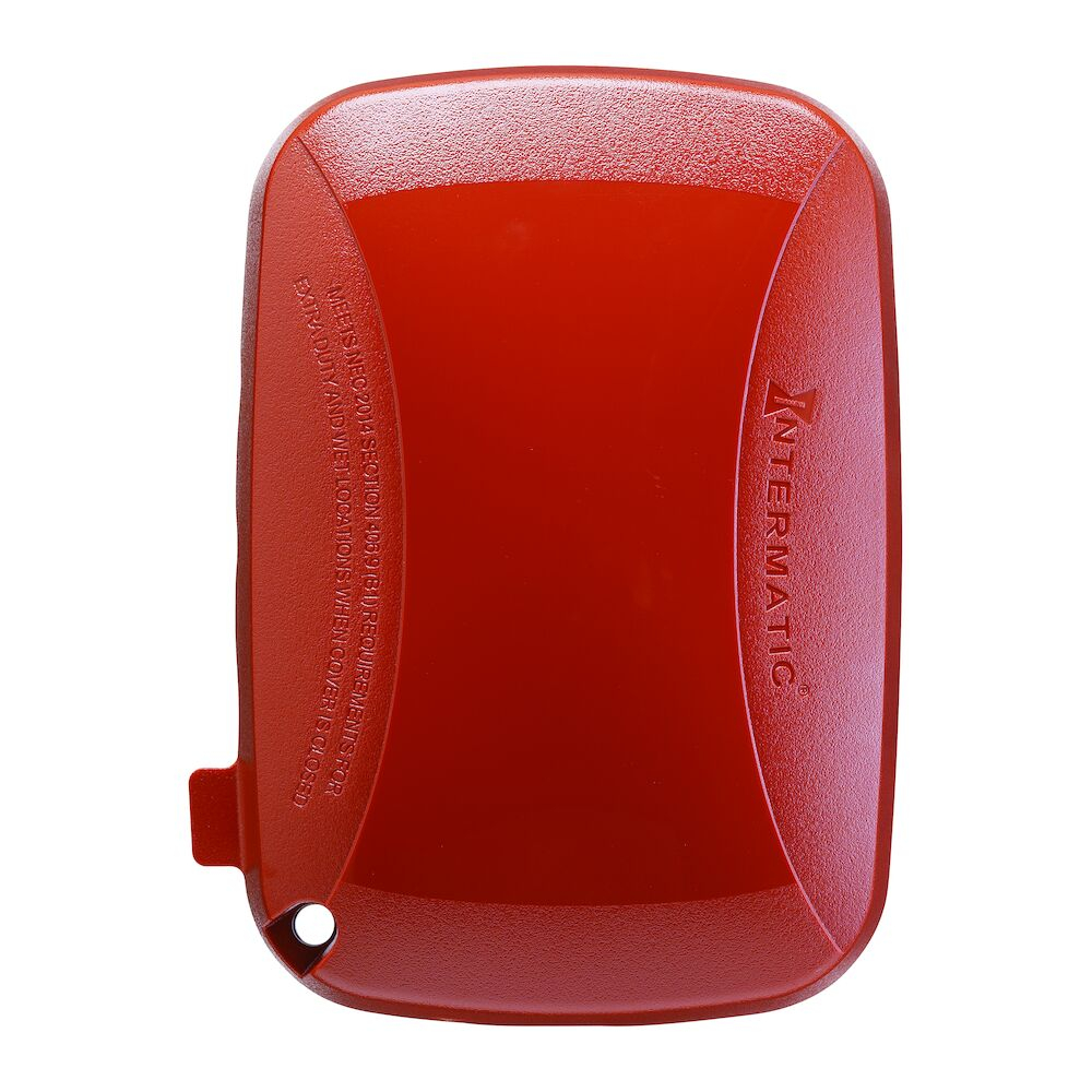 """Extra-Duty Plastic In-Use Weatherproof Cover, Single-Gang, Vrt/Hrz, 2.75"""" Red redirect to product page"""