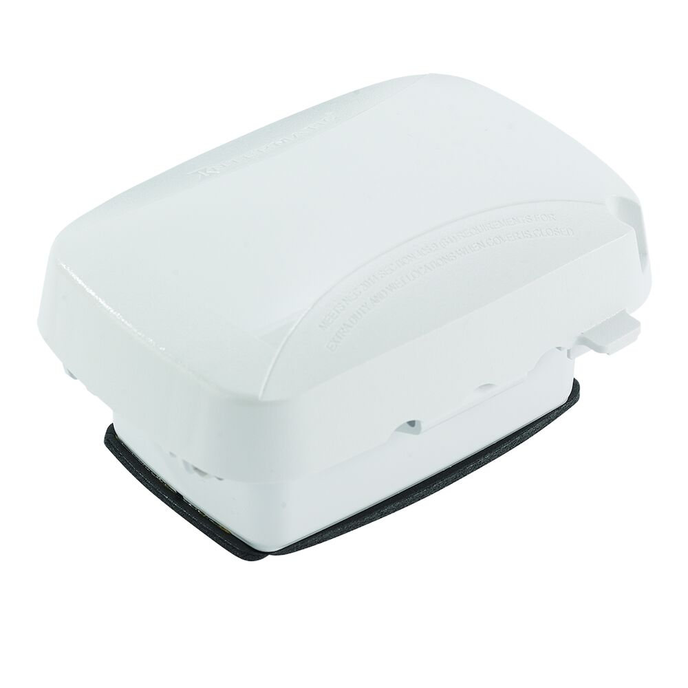 """Extra-Duty Plastic In-Use Weatherproof Cover, Single-Gang, Vrt/Hrz, 2.75"""" White redirect to product page"""