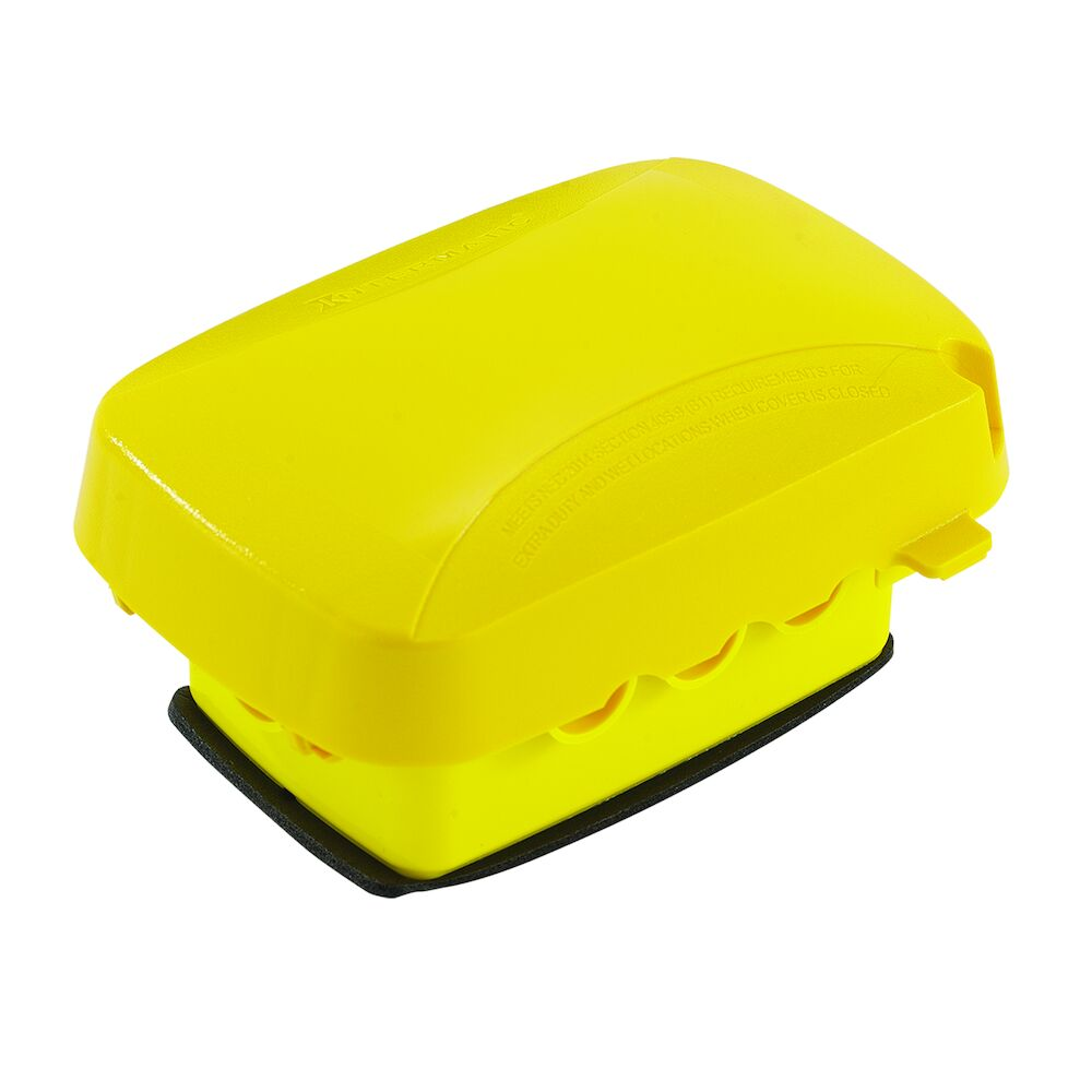 """Extra-Duty Plastic In-Use Weatherproof Cover, Single-Gang, Vrt/Hrz, 2.75"""" Yellow redirect to product page"""