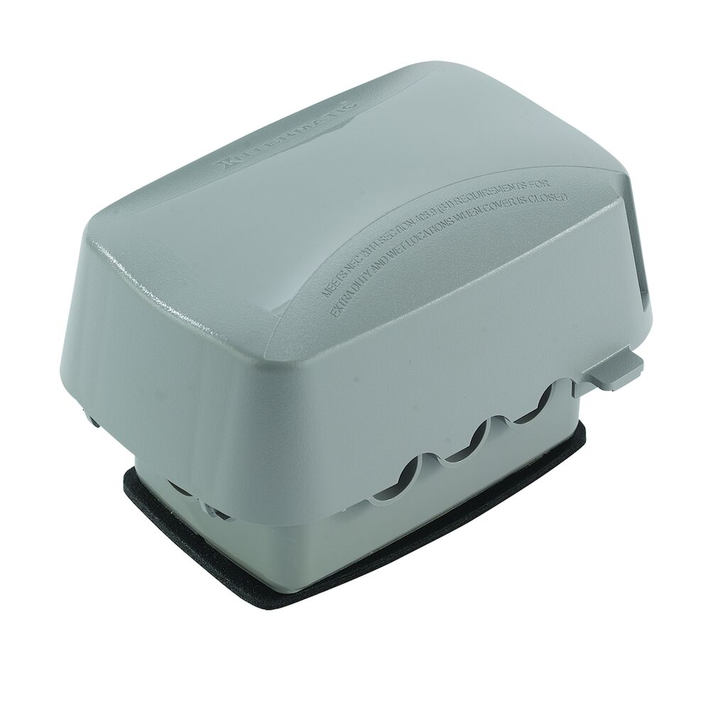 """Extra-Duty Plastic In-Use Weatherproof Cover, Single-Gang, Vrt/Hrz, 3.625"""" Gray redirect to product page"""