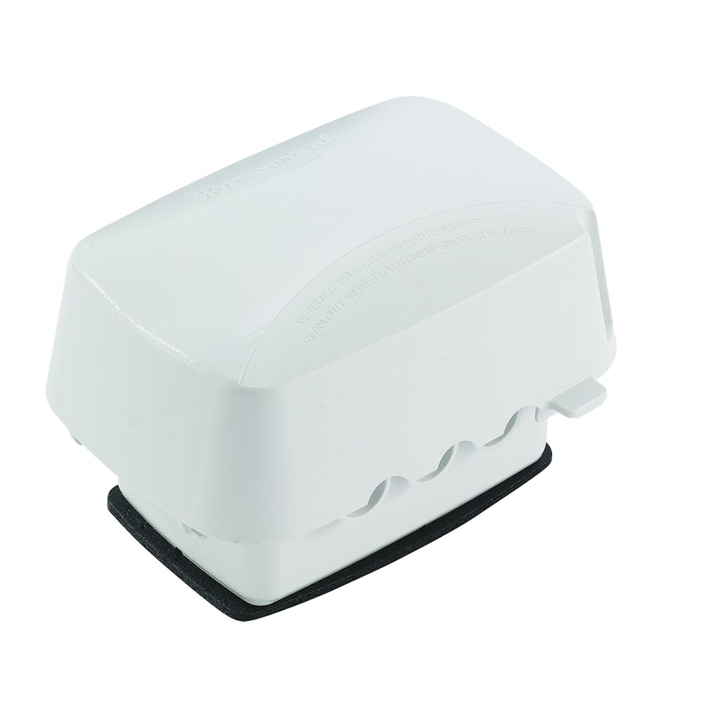 """Extra-Duty Plastic In-Use Weatherproof Cover, Single-Gang, Vrt/Hrz, 3.625"""" White redirect to product page"""
