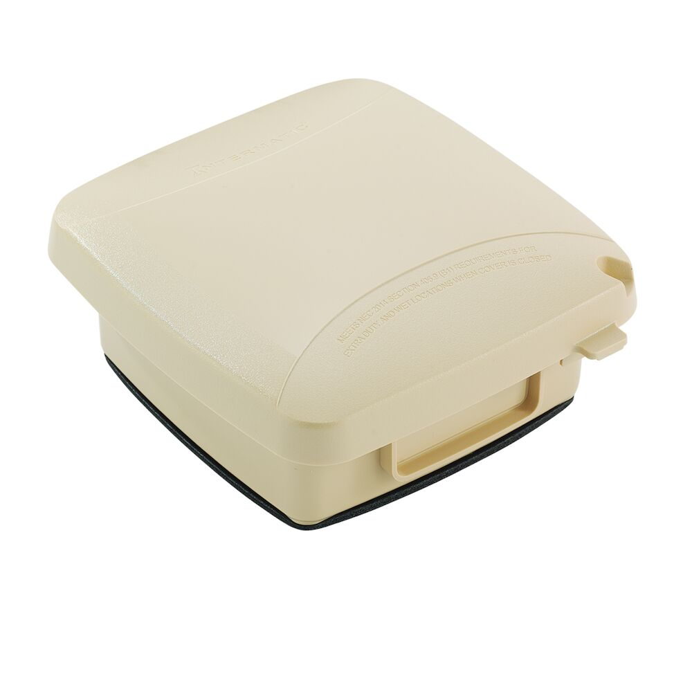 """Extra-Duty Plastic In-Use Weatherproof Cover, Double-Gang, Vrt, 2.25"""" Beige redirect to product page"""