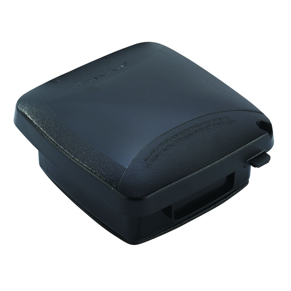 """Extra-Duty Plastic In-Use Weatherproof Cover, Double-Gang, Vrt, 2.25"""" Black redirect to product page"""