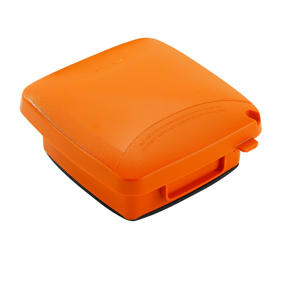 """Extra-Duty Plastic In-Use Weatherproof Cover, Double-Gang, Vrt, 2.25"""" Orange redirect to product page"""