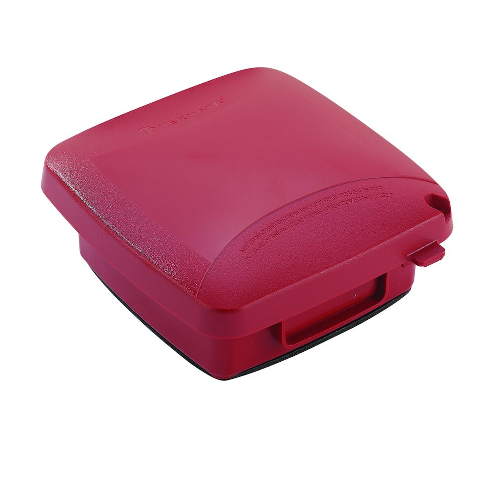 """Extra-Duty Plastic In-Use Weatherproof Cover, Double-Gang, Vrt, 2.25"""" Red redirect to product page"""