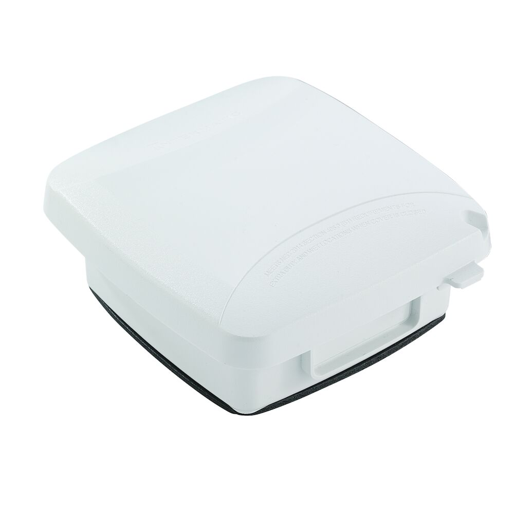 """Extra-Duty Plastic In-Use Weatherproof Cover, Double-Gang, Vrt, 2.25"""" White redirect to product page"""