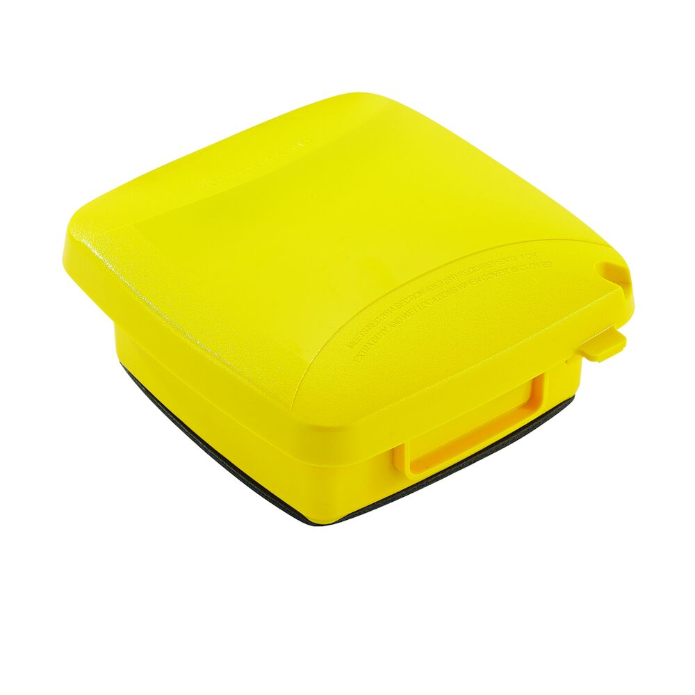 """Extra-Duty Plastic In-Use Weatherproof Cover, Double-Gang, Vrt, 2.25"""" Yellow redirect to product page"""