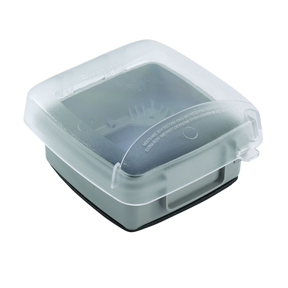 """Extra-Duty Plastic In-Use Weatherproof Cover, Double-Gang, Vrt, 2.75"""" Clear redirect to product page"""