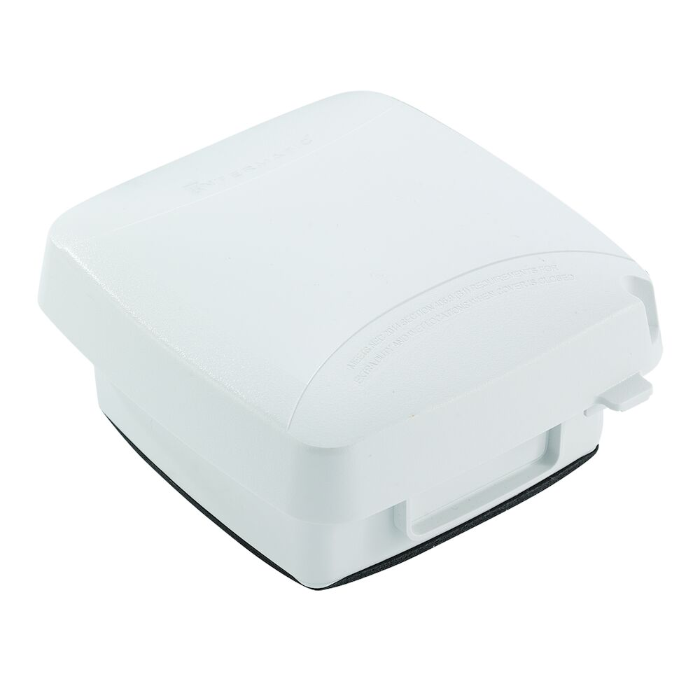 """Extra-Duty Plastic In-Use Weatherproof Cover, Double-Gang, Vrt, 2.75"""" White redirect to product page"""