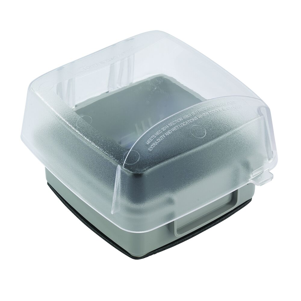 """Extra-Duty Plastic In-Use Weatherproof Cover, Double-Gang, Vrt, 3.625"""" Clear redirect to product page"""